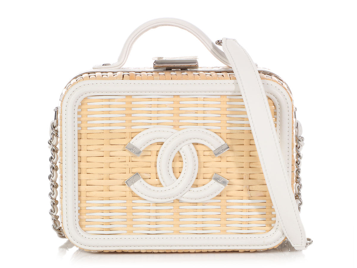Chanel Small Rattan and White Calfskin Vanity Case