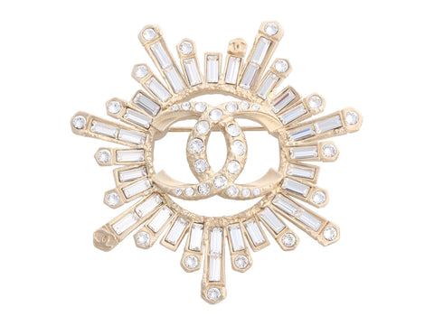 Chanel Starburst Crystal Logo Brooch