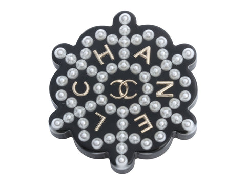 Chanel Floating Logo and Pearls Resin Brooch