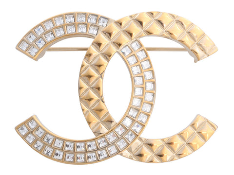 Chanel Quilted and Square Crystal Logo Brooch