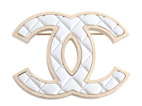 Chanel Two-Tone Quilted Logo Brooch