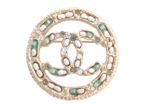 Chanel Round Faux Pearl and Crystal Logo Pin