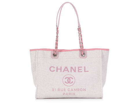 Chanel Medium Cream Raffia, Pink Leather, and Canvas Deauville Tote