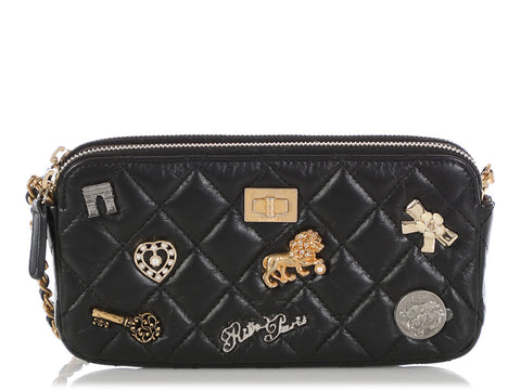 Chanel Black Quilted Aged Calfskin Lucky Charm Double Zip Clutch with Chain
