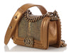 Chanel Mini Quilted Metallic Gold Calfskin and Stingray Boy Bag