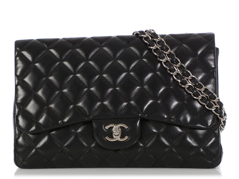 Chanel Jumbo Black Quilted Lambskin Classic Single Flap