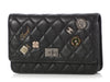 Chanel Black Aged Quilted Calfskin Lucky Charms Reissue Wallet on a Chain WOC