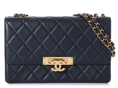 Chanel Large Navy Blue Lambskin Golden Class Flap