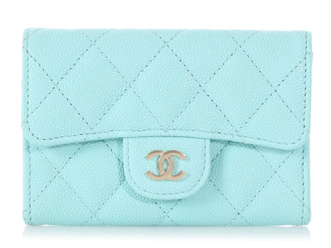 Chanel Light Blue Quilted Caviar Card Holder