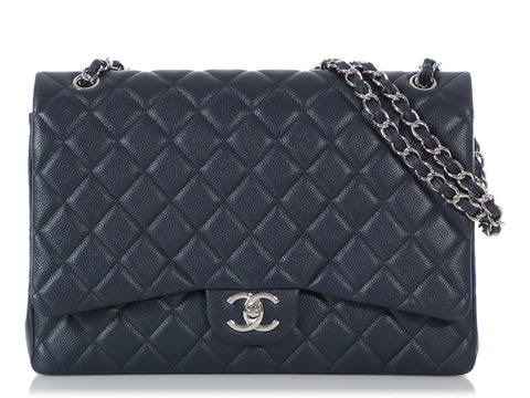 Chanel Maxi Dark Blue Caviar Classic Double Flap