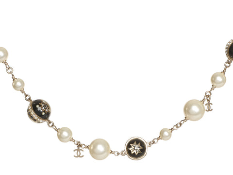 Chanel Pearl Iron Cross Logo Necklace