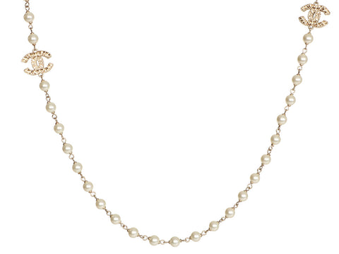 Chanel Long Gold-Tone Pearl Logo Necklace