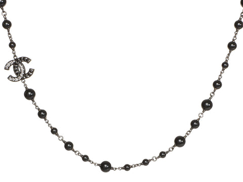 Chanel Long Black Bead Logo Necklace