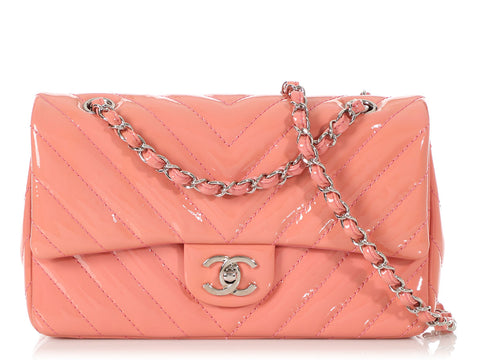 Chanel Medium/Large Rose Chevron-Quilted Patent Classic Single Flap