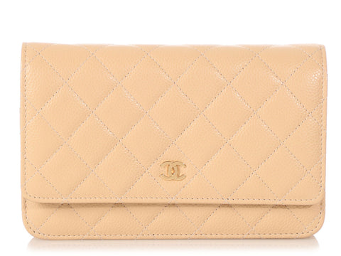 Chanel Light Beige Quilted Caviar Wallet on a Chain WOC
