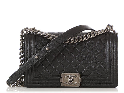 Chanel Old Medium Black Caviar Boy Bag