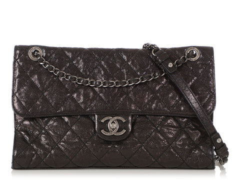 Chanel Black Quilted Glazed Calfskin Flap