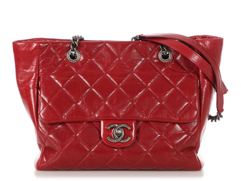 Chanel Small Red Quilted Glazed Calfskin Duo Tote
