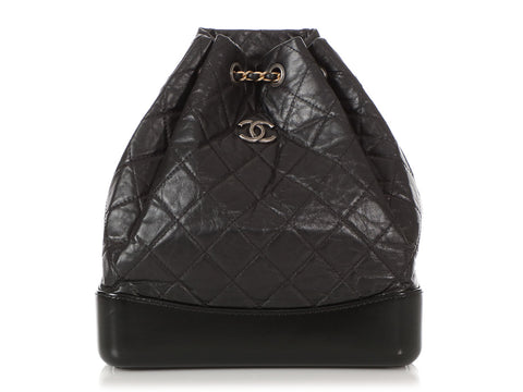 Chanel Small Black Part-Quilted Aged Calfskin Gabrielle Backpack