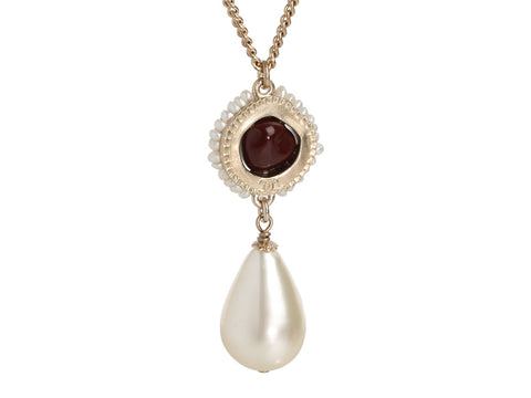 Chanel Gold-Tone Faux Pearl Drop Necklace