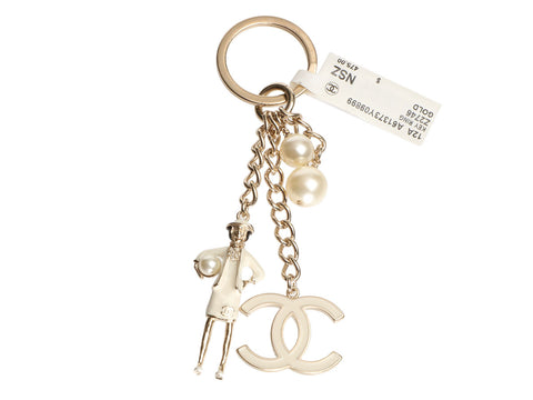 Chanel Gold-Tone Pearl Logo Coco Key Ring