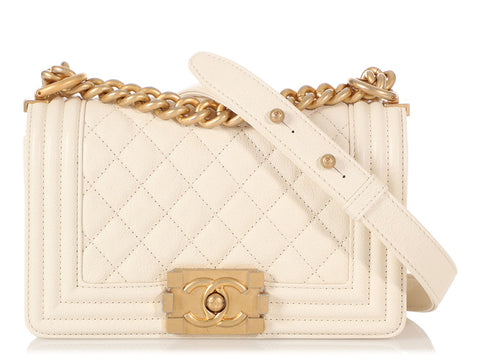 Chanel Small Off-White Quilted Caviar Boy Bag