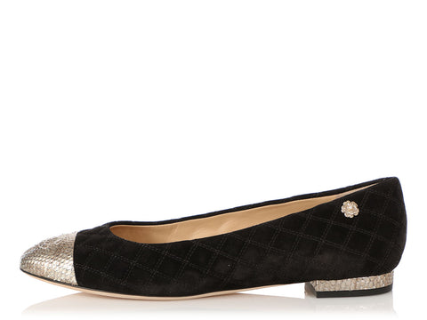 Chanel Black Suede and Gold Python Cap Toe Flats