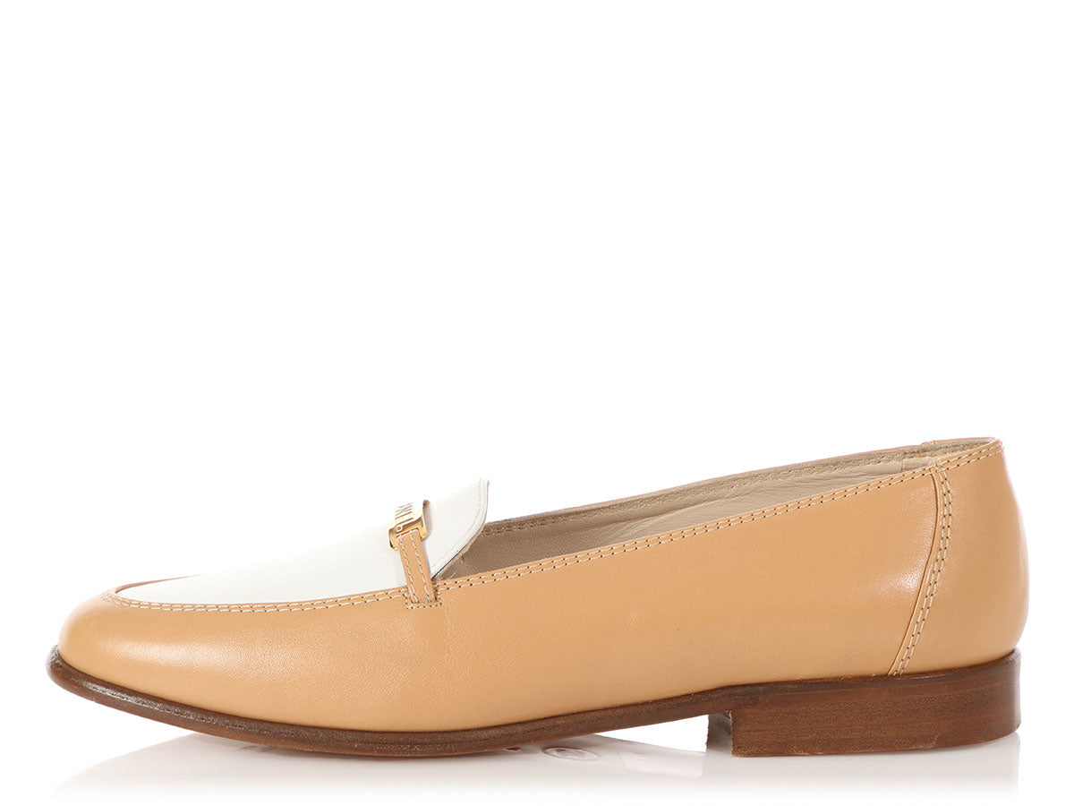 Chanel Tan and White Leather Loafers