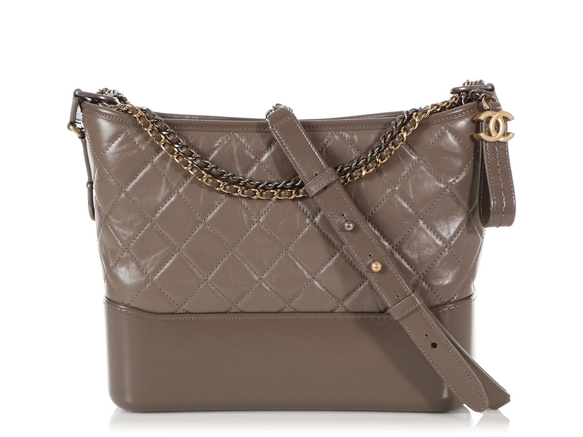 Chanel Medium Gray Aged Calfskin Gabrielle Hobo