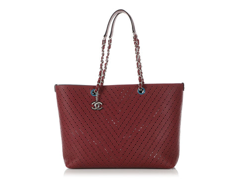 Chanel Dark Red Caviar Perforated Tote