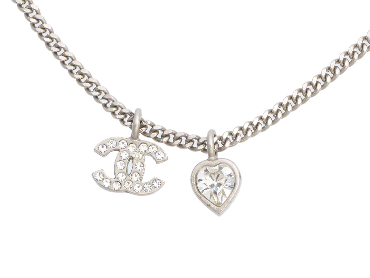 Chanel Crystal CC Logo and Heart Pendant Necklace