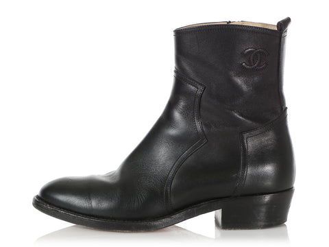 Chanel Black Ankle Boots