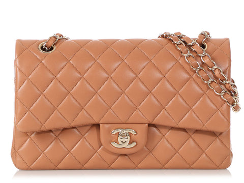 Chanel Medium/Large Dark Beige Quilted Lambskin Classic Double Flap