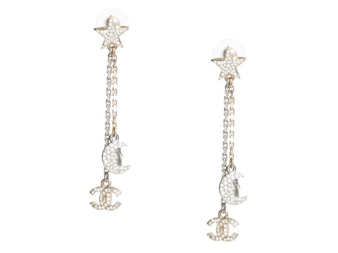 Chanel Crystal Moon and Star Logo Drop Pierced Earrings