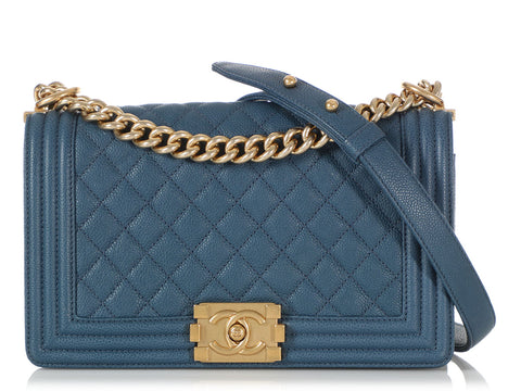 Chanel Old Medium Blue Quilted Caviar Boy Bag
