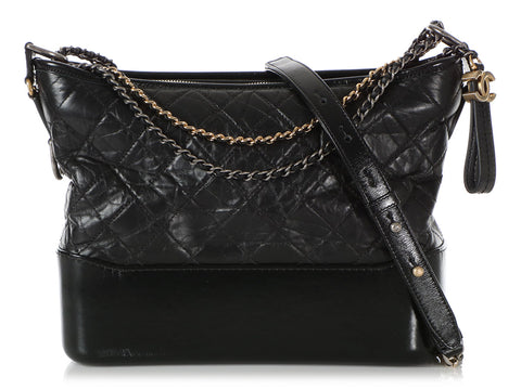 Chanel Small Black Quilted Crumpled Lambskin Gabrielle Hobo