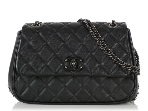 Chanel Black Quilted Calfskin Frame in Chain Flap
