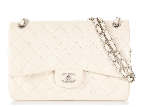 Chanel Jumbo Pearly Ivory Quilted Caviar Classic Double Flap
