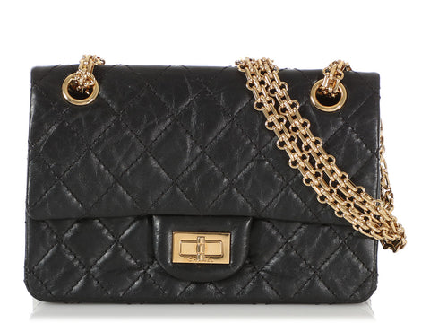 Chanel Mini Black Quilted Distressed Calfskin Reissue