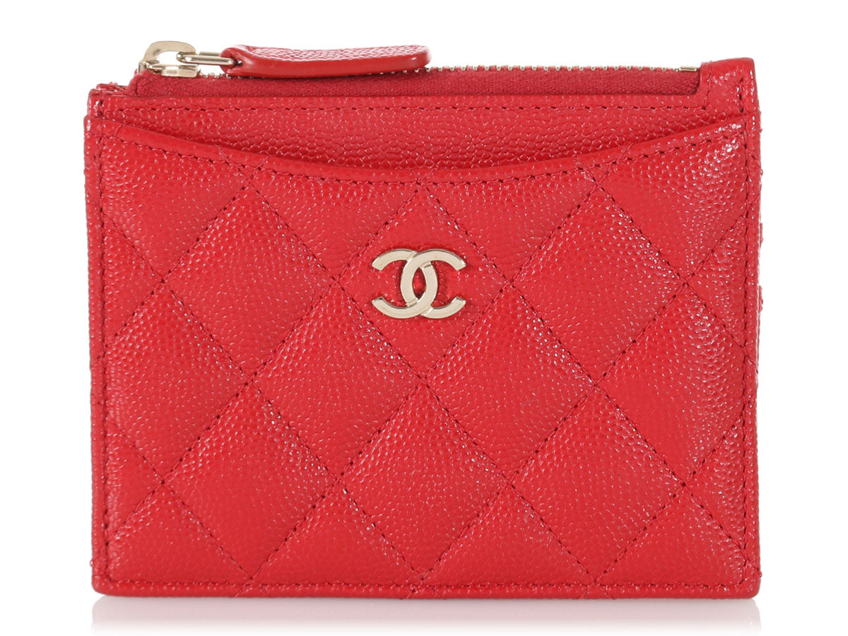 Chanel Red Quilted Caviar Card Case