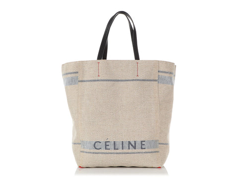 Céline Large Beige and Blue Canvas Phantom Cabas Tote