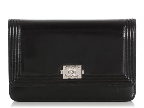 Chanel Black Smooth Calfskin Boy Wallet on a Chain WOC
