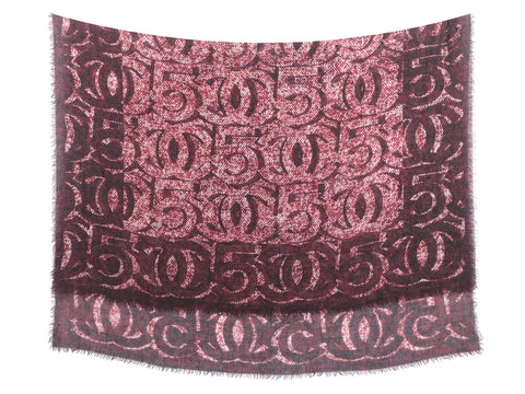 Chanel Burgundy CC Logo Shawl