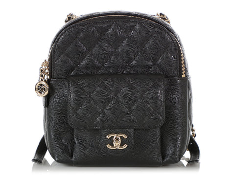 Chanel Mini Black Part-Quilted Caviar Backpack