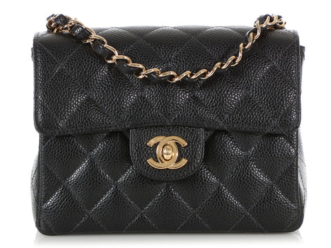 Chanel Mini Black Quilted Caviar Classic Flap