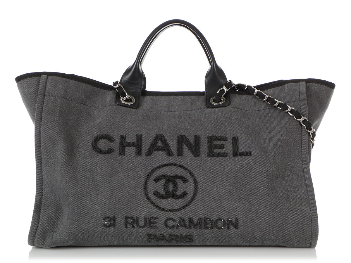 Chanel Sequined Charcoal Denim Deauville Travel Tote