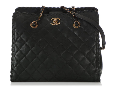 Chanel Black Quilted Velvet Calfskin Whipstitch Tote