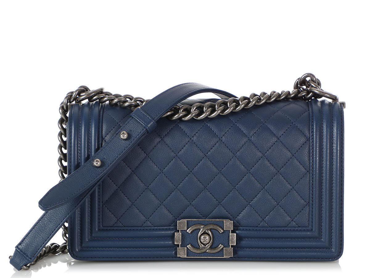 Chanel Old Medium Navy Quilted Calfskin Boy Bag