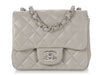 Chanel Mini Gray Quilted Lambskin Classic Flap