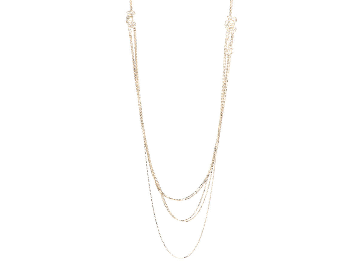 Chanel Long Gold-Tone Pearl and Crystal Logo Layered Necklace
